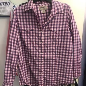 L Pearl snap button down
